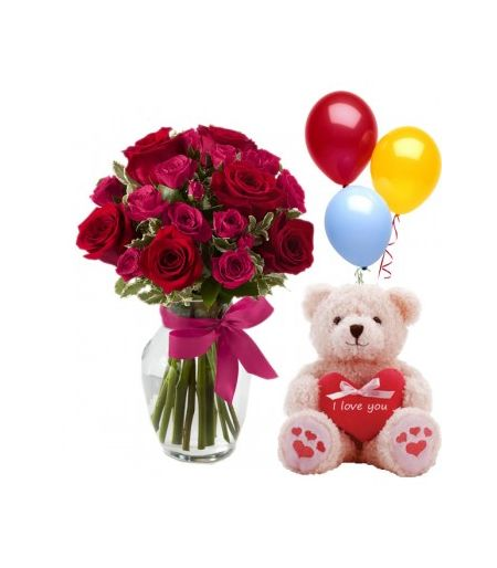 12 Red Roses In Vase W Bear Chocolate To Angeles Cityphilippines