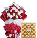buy 24 red & white roses with ferrero chocolate box to angeles city