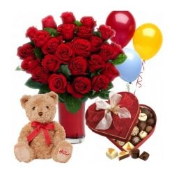 24 Roses Vase w/ Chocolate, Teddy & Balloon