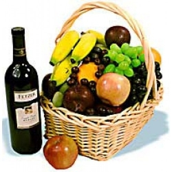 Christmas Fruits Wine Basket Send to Angeles City