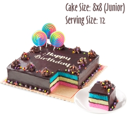 send 8x8 (junior) rainbow dedication cake by red ribbon to angeles city