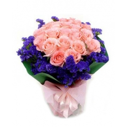24 Pink Roses Bouquet with Seasonal Blooms Send To Angeles City Philippines