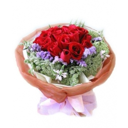 ​12 Red Roses In Bouquet with Seasonal Blooms Send To Angeles City Philippines
