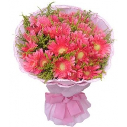 12 Pink Gerberas with Seasonal Flowers Send To Angeles City Philippines
