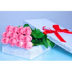 ​12 Pink Roses in a Box Send To Angeles City Philippines
