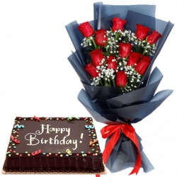 12 Red Roses with Red Ribbon Chocolate Dedication Cake