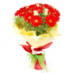 ​12 red gerberas with seasonal blooms send to angeles city philippines