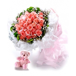 ​36 Pink Roses in Bouquet Send To Angeles City Philippines