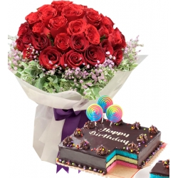 24 Red Roses with Rainbow Dedication Cake