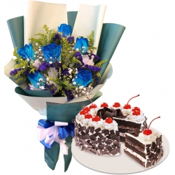 6 Blue Roses with Red Ribbon Black Forest Cake
