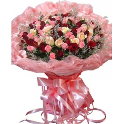48 Mixed Color Roses In Bouquet Send To Angeles City Philippines
