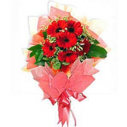 6 Red Gerberas with Seasonal Flowers Send To Angeles City Philippines
