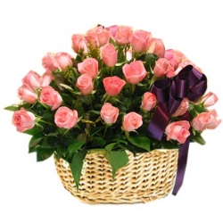 ​24 Pink Roses in Flower Basket Send To Angeles City Philippines