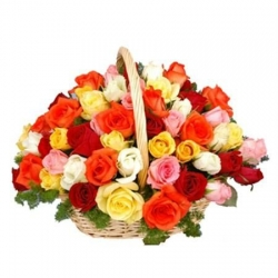 ​48 Mixed Color Roses in Flower Basket Send To Angeles City Philippines