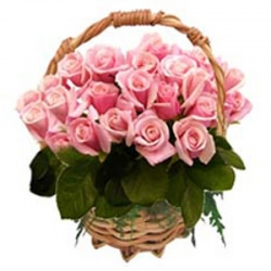 24 Pink Roses in Flower Basket Send To Angeles City Philippines