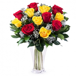 ​12 Red and Yellow Roses in Vase Send To Angeles City Philippines