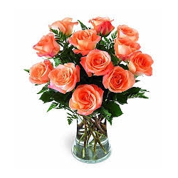 12 Orange Roses in Vase send to angeles city philippines
