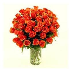 ​36 Orange Roses in a Glass Vase send to angeles city philippines