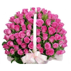 ​60 Pink Roses in Basket Send To Angeles City Philippines