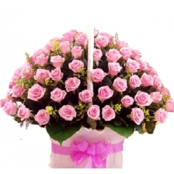 ​60 Pink Roses in Flower Basket with Seasonal Blooms Send To Angeles City Philippines