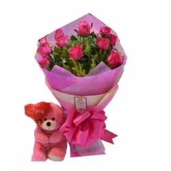 12 Pink Roses W/ Small Heart Teddy Bear