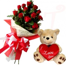 12 Red Roses in Bouquet and Bear with Pillow