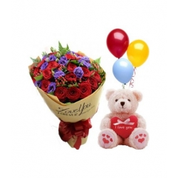 24 Red Roses with small Heart Bear and Balloon