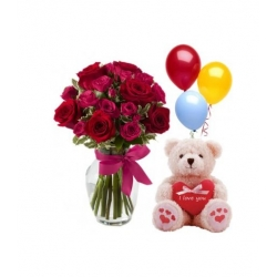 12 Red Roses in vase w/ Bear & Balloons