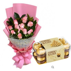 12 pink Roses Bouquet with 16 Ferrero Rocher Box