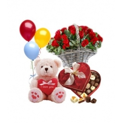 12 Red Rose W/ Chocolate Box, Teddy Bear and Balloon