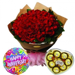 100 Red Roses with Ferrero Heart Chocolate Box and Balloon