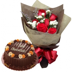 6 Red Roses with Choco Caramel Cake
