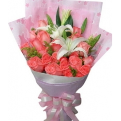 ​2 White Lilies and 12 Pink Roses in a Bouquet Send To Angeles City Philippines