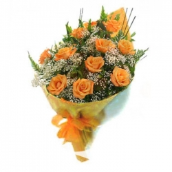 ​12 Orange Roses in a Bouquet send to angeles city philippines