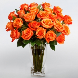 12 Orange Roses in a Glass Vase send to angeles city philippines