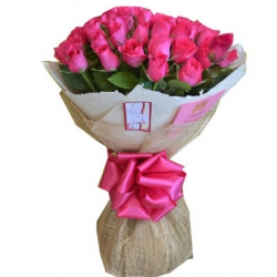 24 Pink Roses in Bouquet send to Angeles City Philippines