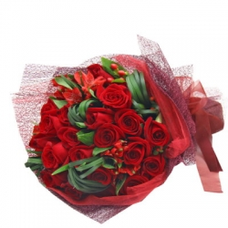 24 Red Roses in Bouquet Send To Angeles City Philippines