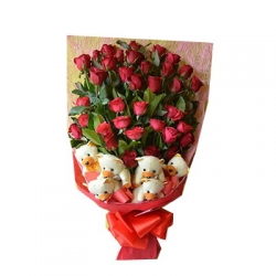 ​24 Red Roses in Bouquet with 6 Bear  Send To Angeles City Philippines​