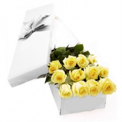 ​12 Yellow Roses in a Box Send To Angeles City Philippines