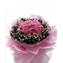 24 Pink Roses in Bouquet with Seasonal Flowers Send To Angeles City Philippines