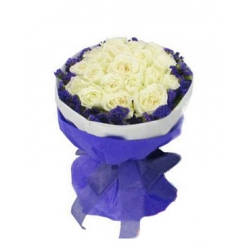 24 White Roses in Bouquet Send To Angeles City Philippines