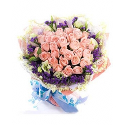 36 Pink Roses in Bouquet with Seasonal Flower  Send To Angeles City Philippines