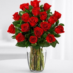 ​24 Red Roses in Vase Send To Angeles City Philippines