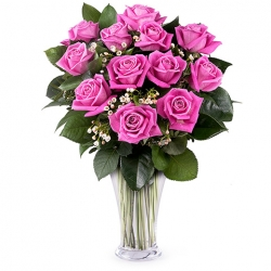 12 Purple Roses in Vase Send To Angeles City Philippines