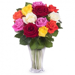 ​12 Mixed Color Roses in Vase Send To Angeles City Philippines