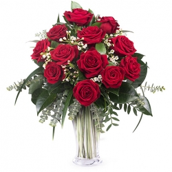 12 Red Roses in Vase Send To Angeles City Philippines