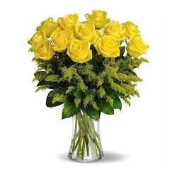 ​12 Yellow Roses with Seasonal Blooms in Vase Send To Angeles City Philippines