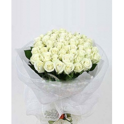 36 White Roses in Bouquet Send To Angeles City Philippines