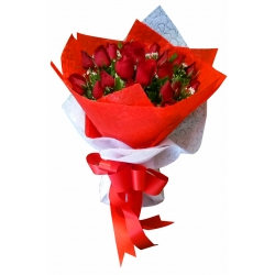 12 Red Roses in Bouquet Send To Angeles City In Philippines