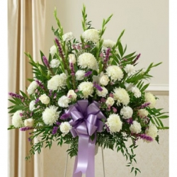 Purple and White Delight Sympathy Basket